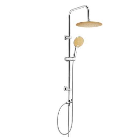 Zestaw prysznicowy z deszczownicą INVENA KAMELEON chrom/biały